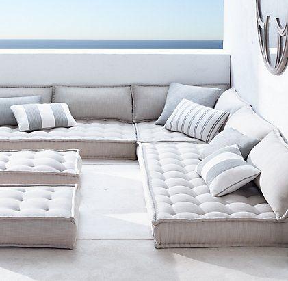 Tufted French Floor Cushions | Restoration Hardware