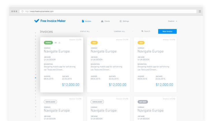 Free-Invoice-Maker-PRO-UI1png (1399×802) Web UI Pinterest - invoice generator app
