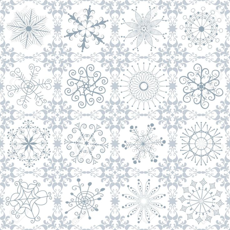 15856215-Christmas-silvery-repeating-vintage-pattern-with-filigree-snowflakes-Stock-Vector.jpg (1300×1300)