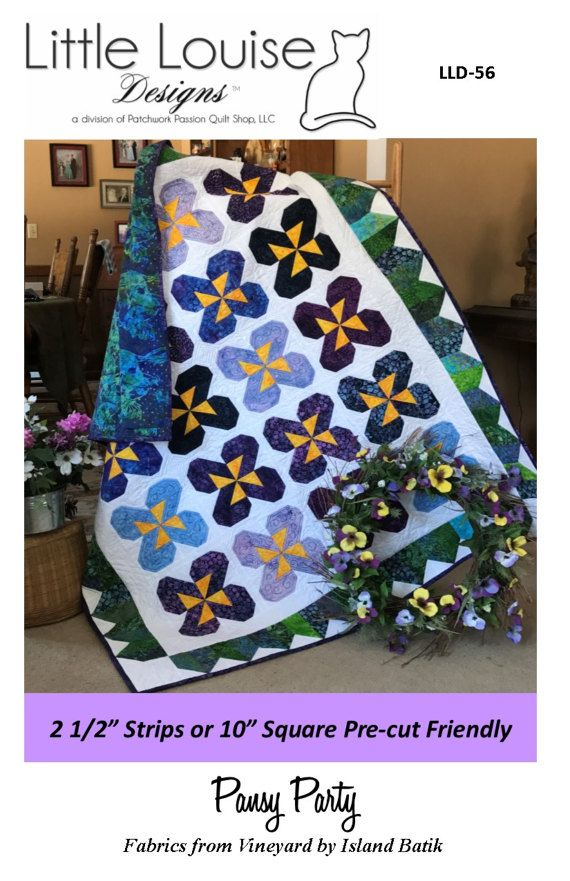 Jelly Roll  Layer Cake Quilt Pattern   Pansy by LittleLouiseQuilts
