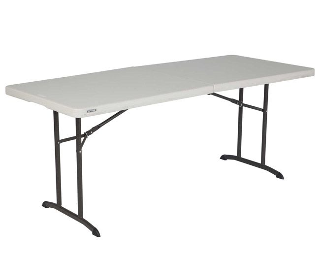 Lifetime Fold-in-Half Folding Tables 6-Foot 80264 Almond Color 12 Pack