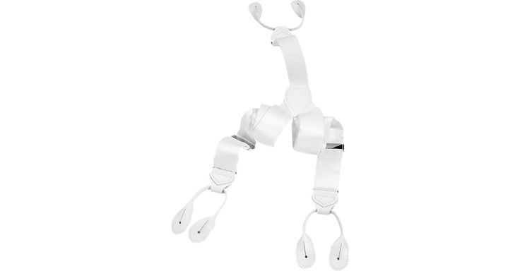 Check this out! Men's Wearhouse White Silk Tuxedo Braces - Men's Belts & Suspenders from MensWearhouse. #MensWearhouse