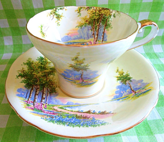 Beautiful Aynsley Blubell Teacup & Saucer by RoyalRummage on Etsy, $20.00