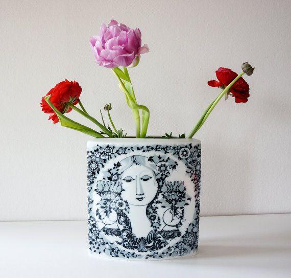 Rosenthal Vase design by Björn Wiinblad Mädchen by VickyVintage, $226.00