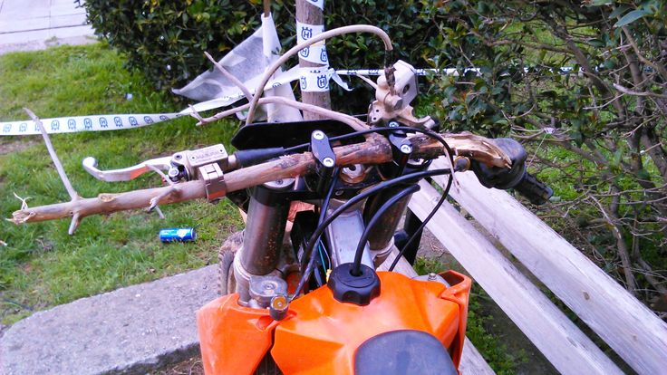 Wood Handlebars on a #ktm...what an idea!