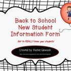 Back to School New Student Information Form