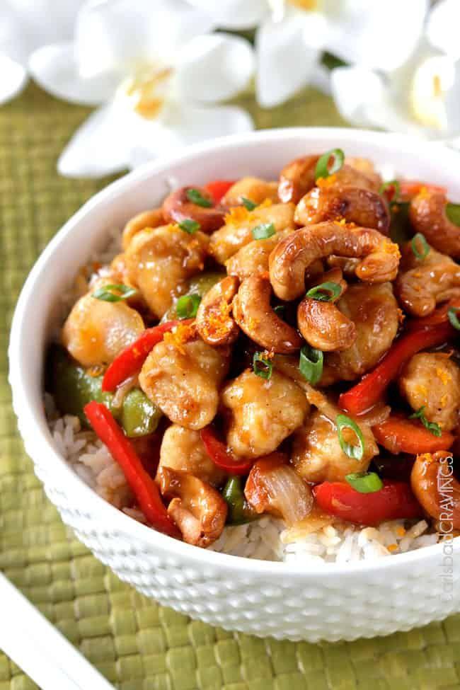 Skinny Caramelized Cashew Chicken Stir Fry