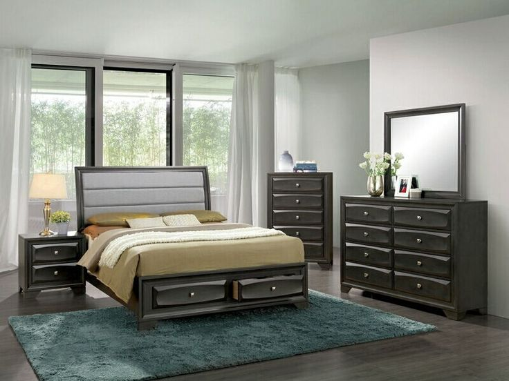 "5 pc Ayana collection antique gray finish wood w/ drawers in footboard queen bedroom set.  This set includes the Bed, Nightstand, Dresser, Mirror, and Chest.  Bed measures 88 5/8"" x 63"" x 51 3/4"" H.  Nightstand measures 23 5/8"" x 16 1/2"" x 23 5/8"" H.  Dresser measures 58 1/4"" x 16 1/2"" x 39 3/4"" H.  Mirror measures 39 3/8"" x 1"" x 34 3/4"" H.  Chest measures 31 1/2"" x 16 ..."