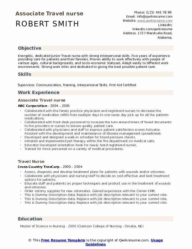 Travel Nurse Resume Examples Elegant Travel Nurse Resume Samples In 2020 Nursing Resume Travel Nursing Resume Examples