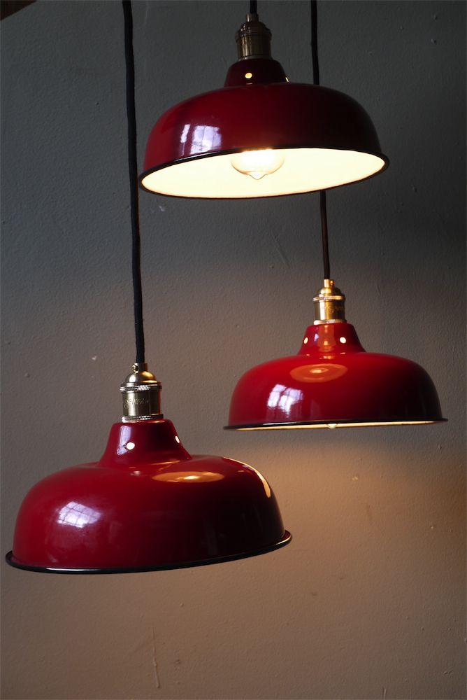 rare abat jour emaillé lampe industrielle rouge
