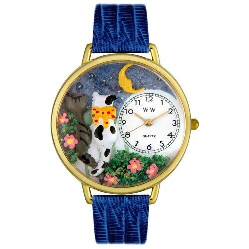 Whimsical Watches Unisex G-0120009 Cats Night Out Blue Leather Watch Whimsical Watches. $40.99. White, cat-night-owl-theme dial. Secure buckle-clasp. Durable plastic crystal covering themed-dial. Precise and durable Japanese quartz movement. Blue Italian leather strap
