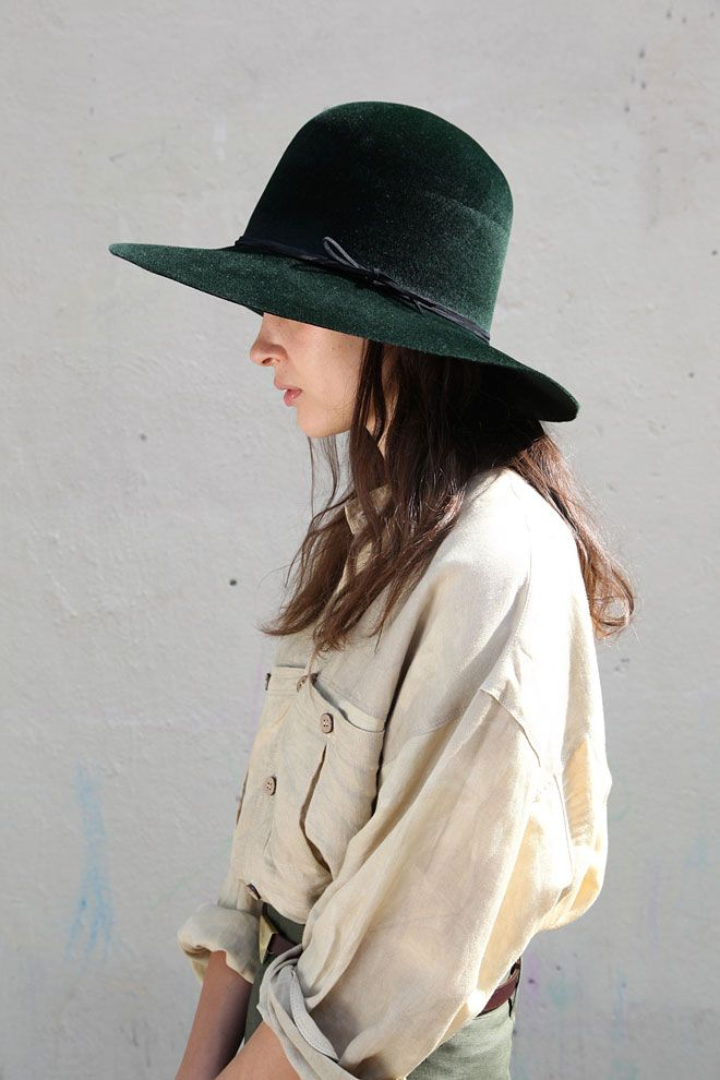 Like - curved style, wide brim & rich green colour