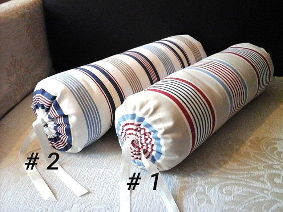 handmade neck roll bolster striped cotton pillow cover ready to ship