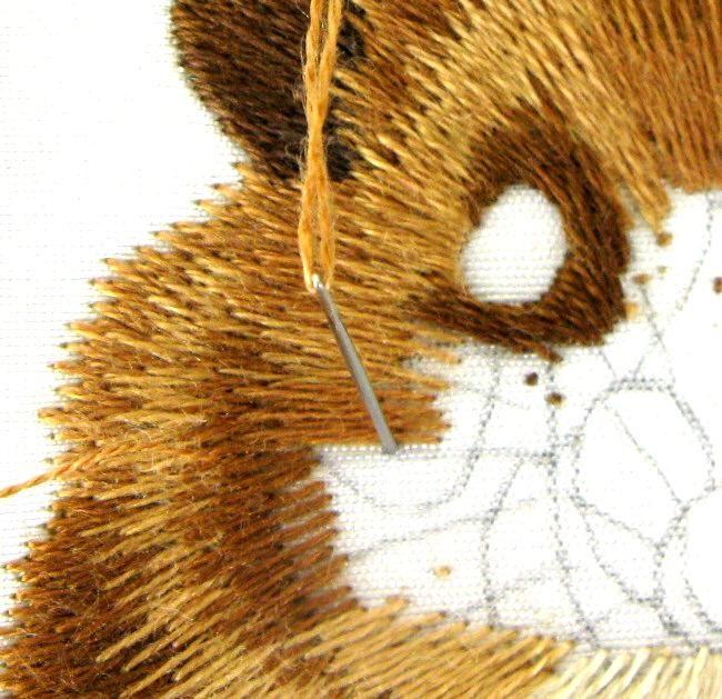 Hamster Trabajo en Progreso Imágenes: Pintura Aguja bordado a mano, un diseño del bordado de la mano como una alternativa a la del punto de cruz.