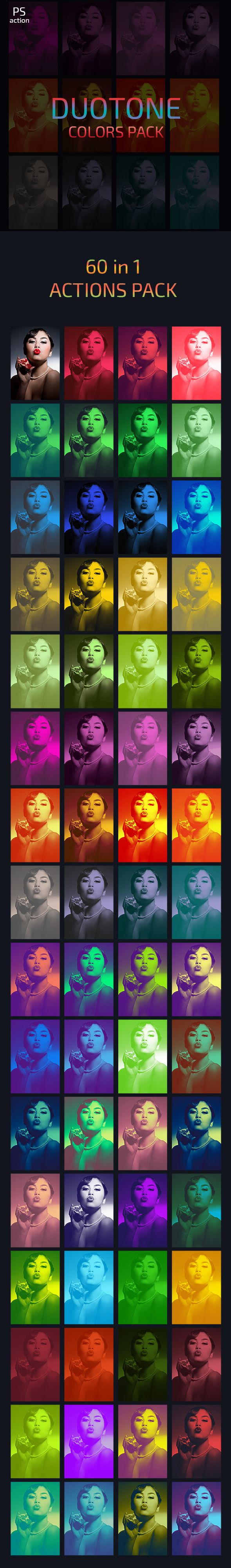 60 Duotone Color Photo Effects Actions Pack — Photoshop ATN #vfx #vignette • Available here → https://graphicriver.net/item/60-duotone-color-photo-effects-actions-pack/16265721?ref=pxcr