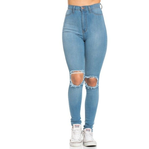 Ripped Knee Super High Waisted Skinny Jeans in Light Blue found on Polyvore featuring polyvore, women's fashion, clothing, jeans, pants, bottoms, calças, pantalones, light blue skinny jeans and high-waisted jeans