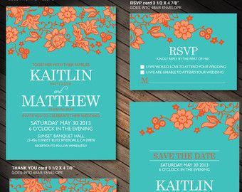 Turquoise And Orange Flower Wedding Printables Customized Invitation Rsvp Thank You