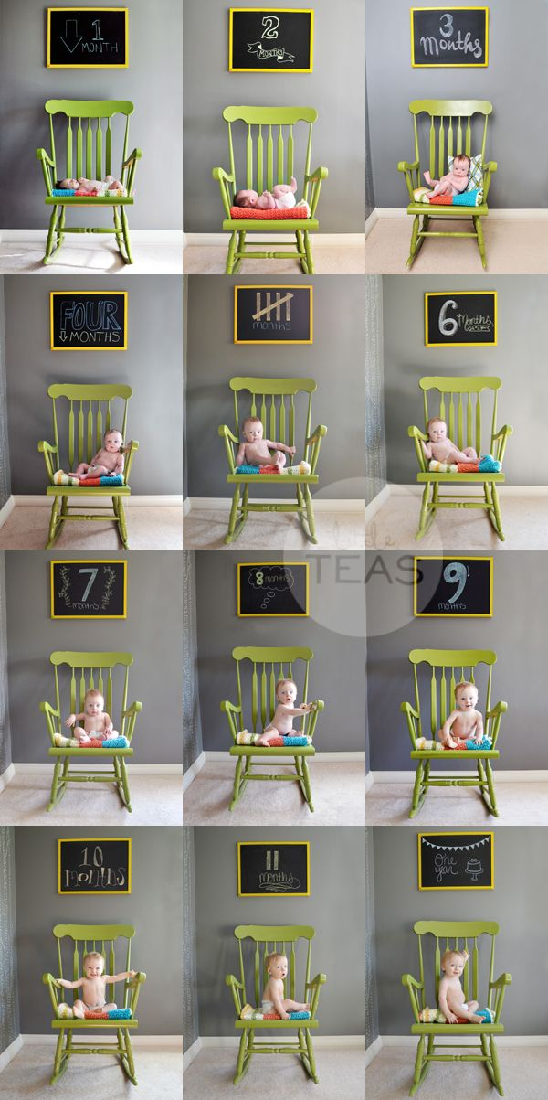 little teas: monthly photo    i like the idea of chalkboard over rocker in the nursery for monthly pics