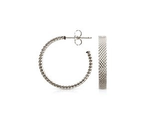 Blue Nile Mesh Hoop Earrings in Sterling Silver with 14k White Gold Posts (7/8) 9FSpMh
