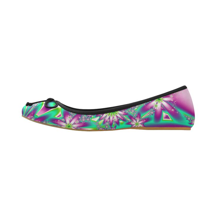 Purple and green fractal flowers Juno Ballet Pumps by Tracey Lee Art Designs