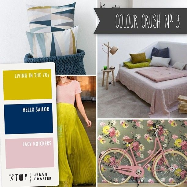 Urban Crafter Colour Crush Mondays www.urbancrafter.com.au Colour Crush #3.  Get a similar look with Urban Crafter acrylic paints 'Living in the 70s', 'Hello Sailor' and 'Lacy Knickers'