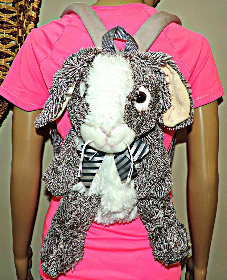 Rabbit stuffed Animal Backpack, Fluffy Children lunch bag Toy Age 2-8yrs New #XTIROYAL