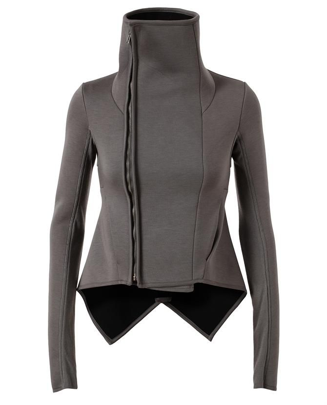 Rick Owens Lilies taupe coated cotton neoprene biker jacket with funnel neck & an off-center front zip.