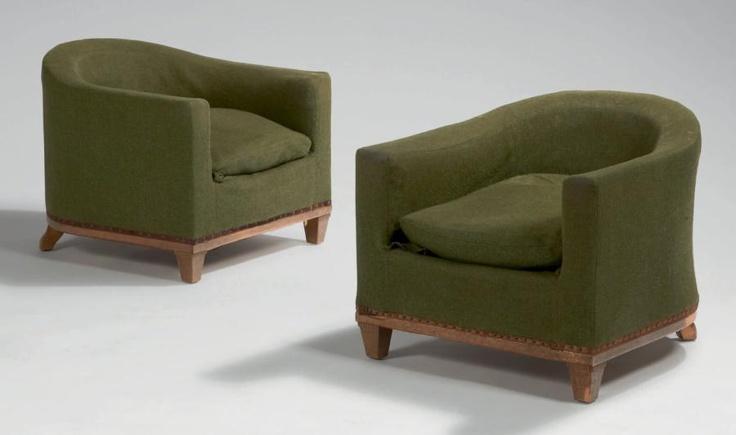 ruhlmann jacques mile paire de fauteuils crapaud bas dossier et acc tissu vert fauteuil. Black Bedroom Furniture Sets. Home Design Ideas
