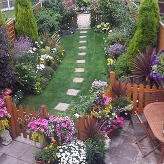 Garden of the Day! Thanks Wayne Mace for sharing this photo with me. This is real treat, borders packed with colour & lush green lawn. #gardening #garden #gardens #gardenoftheday