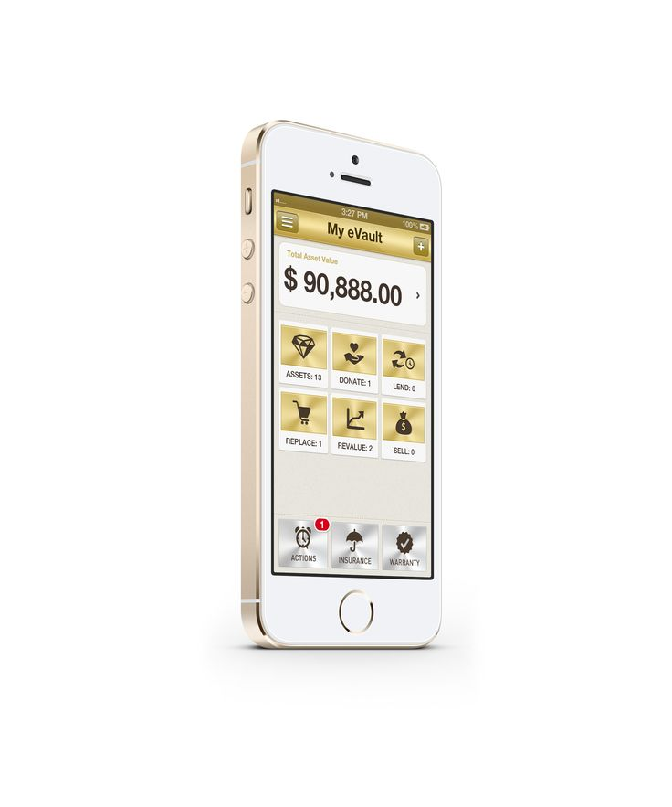 The My eVault app - bespoke gold design matches well with the iPhone 5S in gold colour. Go for go! Gold on gold :)