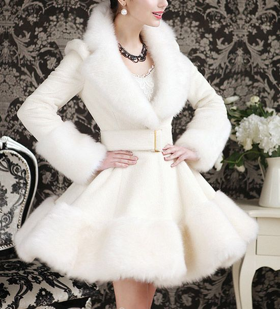 Elegant Turn-Down Collar Faux Fur Embellished Long Sleeve White Ruffle Coat For Women, WHITE, S in Jackets & Coats | DressLily.com