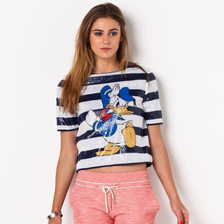 T-shirt manches courtes rayé à sequins femme Nenald ELEVEN PARIS