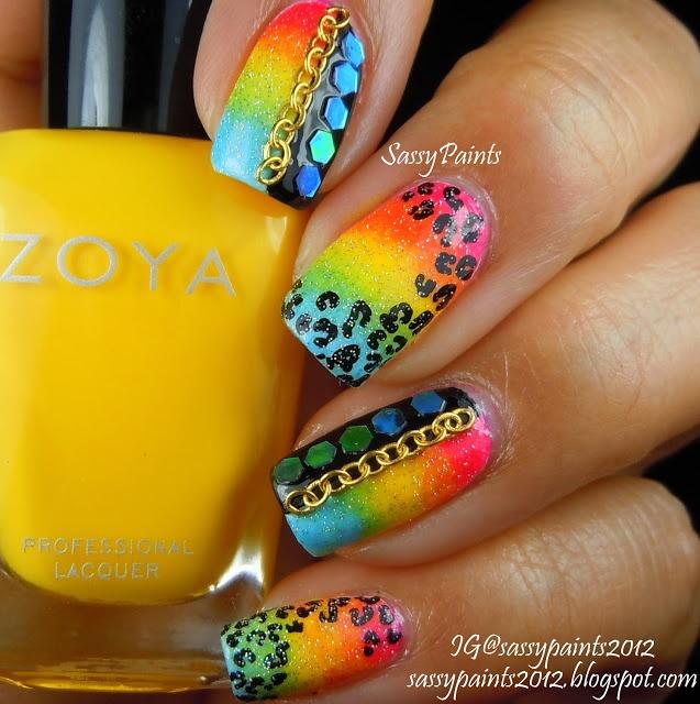 Sassy Paints: Rainbow Punk #nail #nails #nailart