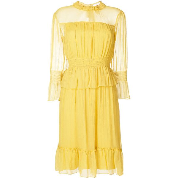 See By Chloé ruffled tea dress ($590) ❤ liked on Polyvore featuring dresses, tea party dresses, ruffle neck dress, beige dress, ruffle dress and bohemian dresses