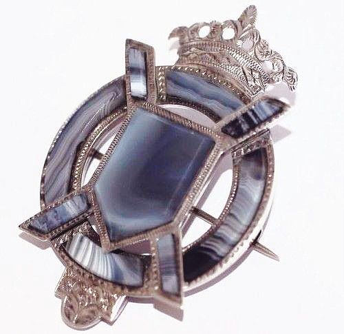 Antique Victorian Sterling Silver Scottish Agate Brooch Pin