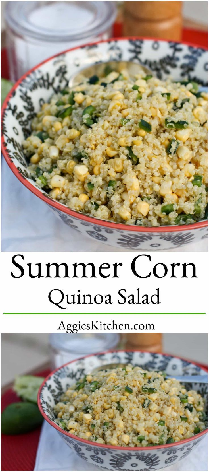 Fresh Corn and Quinoa Salad is perfect warm weather food. You'll love the flavors as a side dish for grilled meals, or on its own as a vegetarian dish. via @aggieskitchen