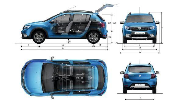 Dacia Sandero Stepway - schéma rozměrů vozu