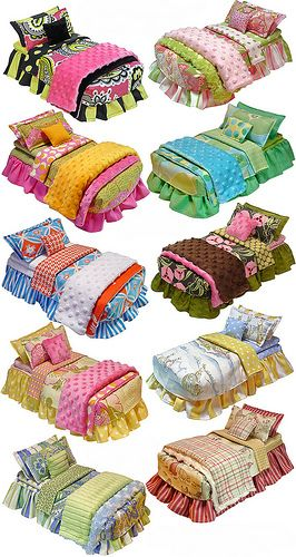 OMG... adorable bedding for American Girl doll beds!!!! Used to be Mavis Jarvis custom bedding, but now made by same person, new company name, http://annabellacassella.com/