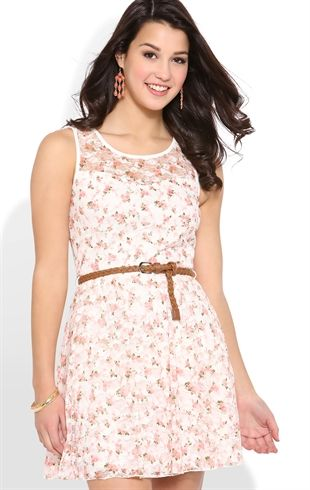 ditsy floral print lace skater dress with belted waist