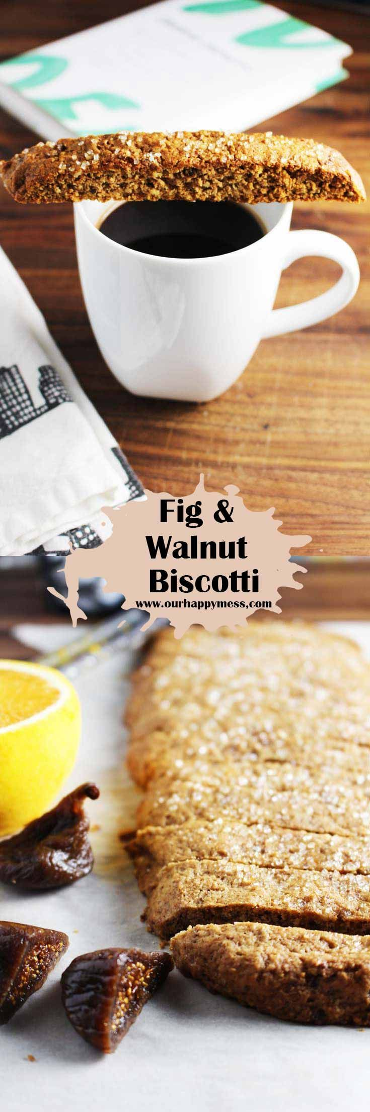 Fig and walnut biscotti featuring warm spices and plump dried figs are a delightfully crunchy cookie, perfect for the holidays, and great for gifting.  via @ourhappymess