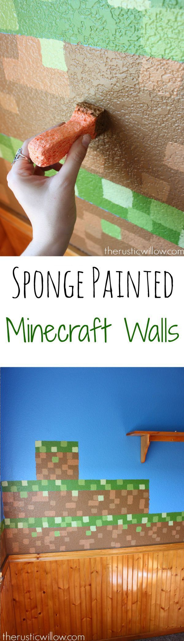 Think painting Minecraft walls is hard? Think again. Use this sponge method to paint fool-proof Minecraft walls   therusticwillow.com