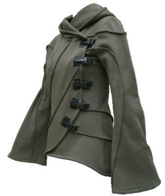 Beautiful winter coat w/ hood, flared sleeves, and striking construction. Army green.