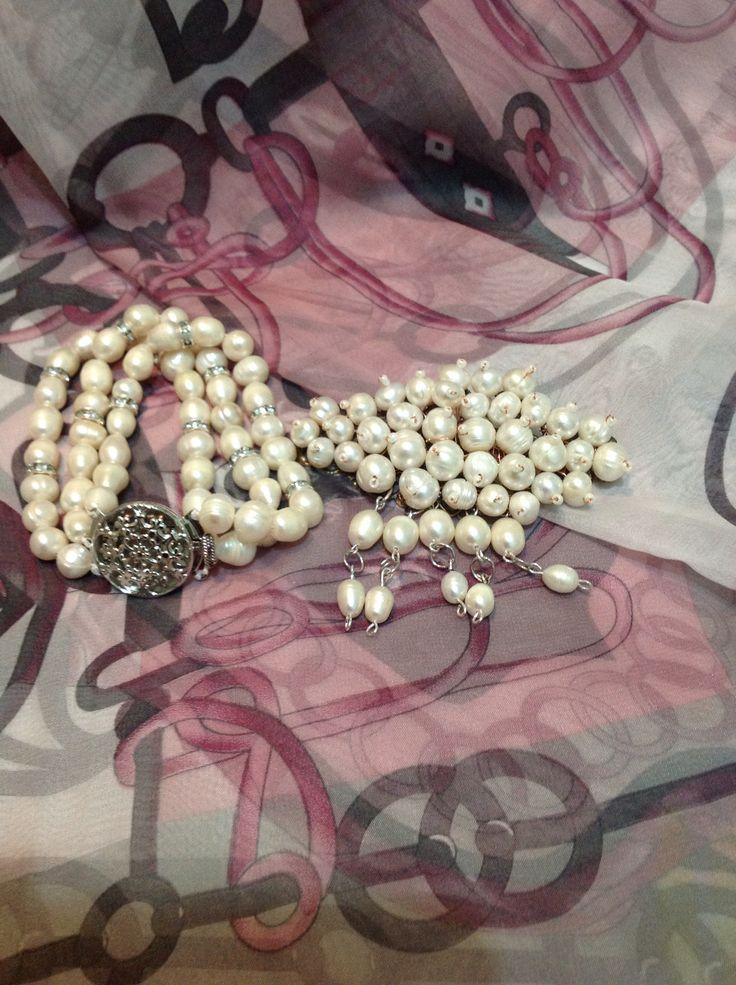 Freshwater pearl brooch n bracelet