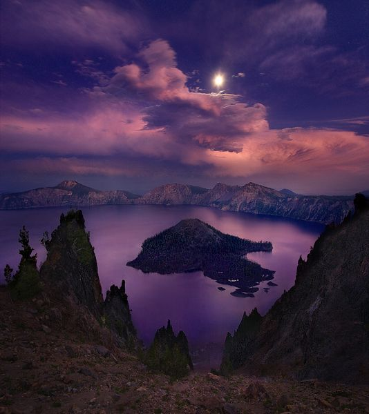 Wizard Island, Crater Lake, Oregon by Marc AdamusWizards Islands, Sky, Crater Lakes National Parks, Crater Lakes Oregon, Marc Adamus, Beautiful Places, Oregonbeauti Usa, Art History, Purple Moonlight