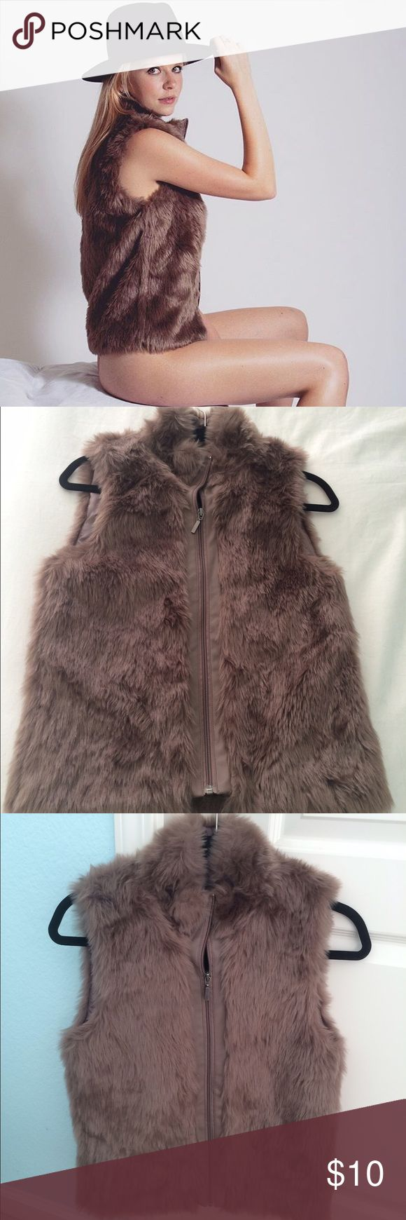 Brown faux fur primark vest Worn once for a photoshoot but still new with tags. Original price €15 atmosphere Jackets & Coats Vests