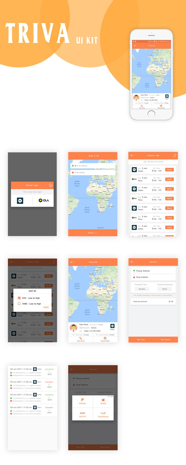 TRIVA UI KIT comes with the finest colour and design. It has all features which are important and used in Taxi booking Application. It starts with below features like : 1. Login Page 2. Book a Cab(Taxi) 3. Choose a Ride 4. Filter by Price 5. Track Ride 6. Payment Page 7. Payment Option & Booked ! Download Link :http://wsdesign.in/home/detail/75