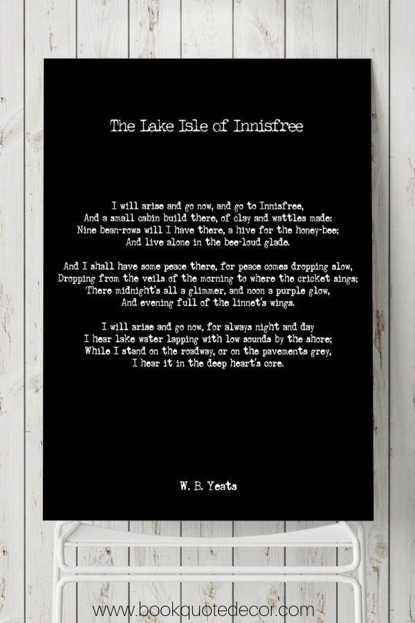 W B Yeats Lake Isle Of Innisfree Poetry Quote Art Poem Print