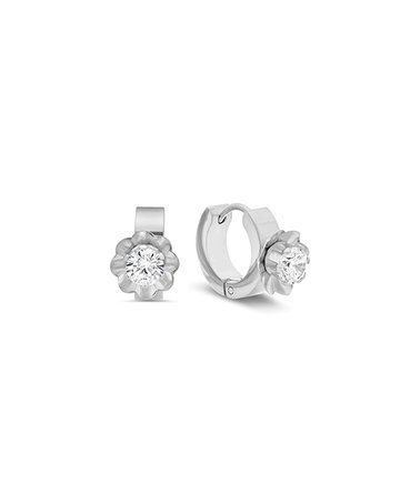 Loving this Cubic Zirconia & Stainless Steel Flower Huggie Earrings on #zulily! #zulilyfinds