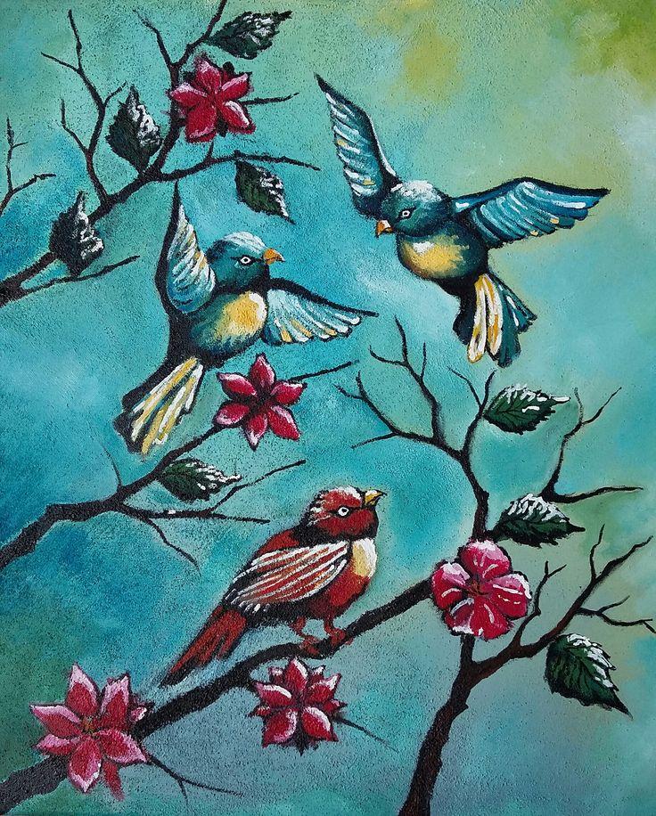 """""""Birds"""", Acrylic on canvas, 40x50cm, 2015"""