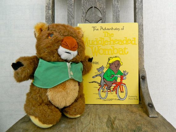 The MUDDLE-HEADED WOMBAT . vintage toy and hard cover book . ruth park . etsyau wandarrah oz au australia . children collectable